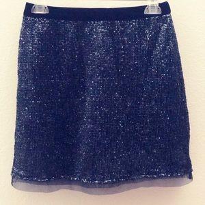 Free People Navy Sequence & Velvet Skirt S4